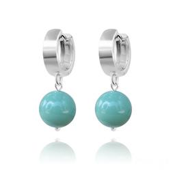 Boucles d'Oreilles en Argent Perle 10mm de Cristal Nacré Jade