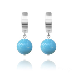 Boucles d'Oreilles en Argent Perle 10mm de Cristal Nacr� Turquoise