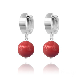Boucles d'Oreilles en Argent Perle 10mm de Cristal Nacr� Red Coral