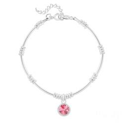 Bracelet Ethnique en Argent et Cristal Rivoli Rose