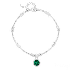 Bracelet Ethnique en Argent et Cristal Rivoli Emeraude