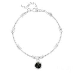 Bracelet Ethnique en Argent et Cristal Rivoli Noir