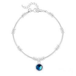 Bracelet Ethnique en Argent et Cristal Rivoli Bleu Bermude