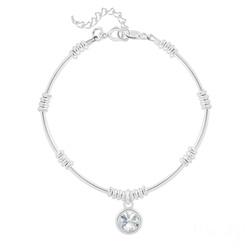 Bracelet Ethnique en Argent et Cristal Rivoli Blanc