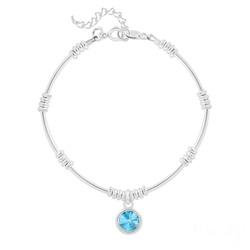 Bracelet Ethnique en Argent et Cristal Rivoli Bleu