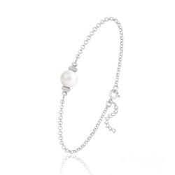 Bracelet en Argent et Perle de Cristal Nacré - Ivory
