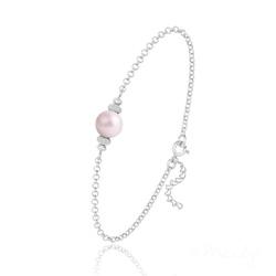 Bracelet en Argent et Perle de Cristal Nacré - Pastel Rose