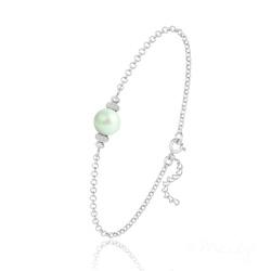 Bracelet en Argent et Perle de Cristal Nacré - Pastel Green