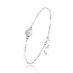 Bracelet en Argent et Perle de Cristal Nacré - Pastel Grey