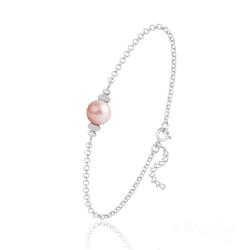 Bracelet en Argent et Perle de Cristal Nacré - Rose Peach
