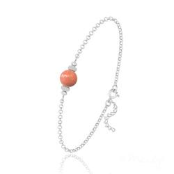 Bracelet en Argent et Perle de Cristal Nacré - Coral