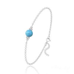 Bracelet en Argent et Perle de Cristal Nacré - Turquoise