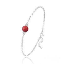 Bracelet en Argent et Perle de Cristal Nacré - Red Coral
