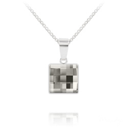 Collier Chessboard V2 en Argent et Cristal 10MM Black Diamond