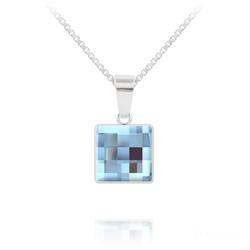 Collier Chessboard V2 en Argent et Cristal 10MM Bleu Aquamarine