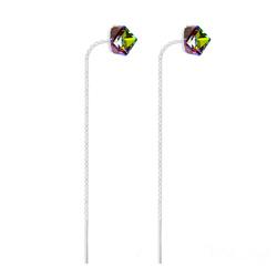 Boucles Chaînes d'Oreilles en Argent et Cristal Cube Vitrail Medium
