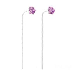 Boucles Chaînes d'Oreilles en Argent et Cristal Cube Violet
