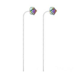 Boucles Chaînes d'Oreilles en Argent et Cristal Cube Aurora Borealis