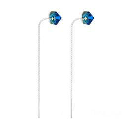 Boucles Chaînes d'Oreilles en Argent et Cristal Cube Bleu Bermude