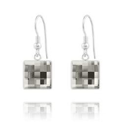 Boucles d'Oreilles Chessboard V2 en Argent et Cristal 10MM Black Diamond