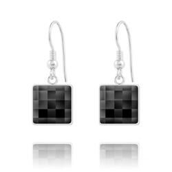 Boucles d'Oreilles en Cristal et Argent Boucles d'Oreilles Chessboard V2 en Argent et Cristal 10MM Noir (Jet)