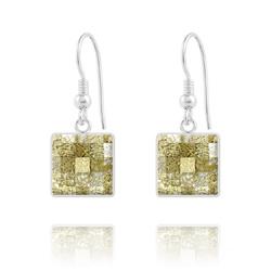 Boucles d'Oreilles en Cristal et Argent Boucles d'Oreilles Chessboard V2 en Argent et Cristal 10MM Gold Patina