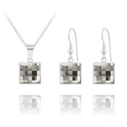 Parure Chessboard V2 en Argent et Cristal 10MM Black Diamond