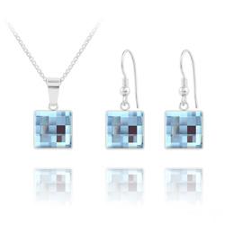 Parure Chessboard V2 en Argent et Cristal 10MM Bleu