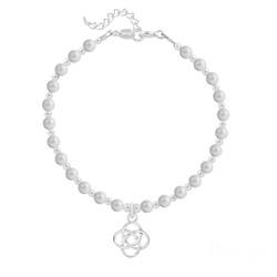 Bracelet Noeud Infini en Argent et Perle de Cristal Nacrée Pastel Grey