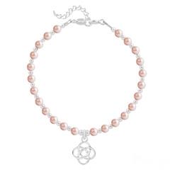 Bracelet Noeud Infini en Argent et Perle de Cristal Nacrée Rose Peach