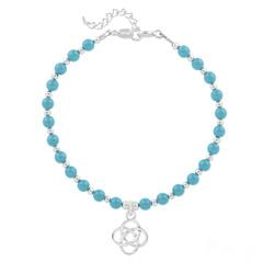 Bracelet Noeud Infini en Argent et Perle de Cristal Nacrée Turquoise