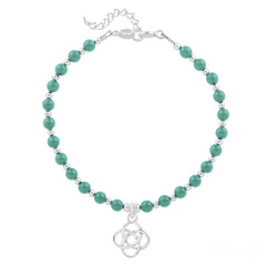 Bracelet Noeud Infini en Argent et Perle de Cristal Nacrée Jade