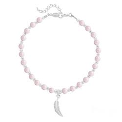 Bracelet Plume en Argent et Perle de Cristal Nacrée Pastel Rose
