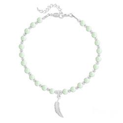 Bracelet Plume en Argent et Perle de Cristal Nacrée Pastel Green