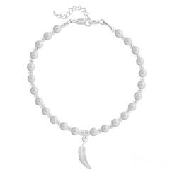 Bracelet Plume en Argent et Perle de Cristal Nacrée Pastel Grey