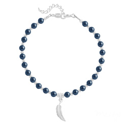 Bracelet Plume en Argent et Perle de Cristal Nacrée Tahitian Look