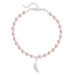 Bracelet Plume en Argent et Perle de Cristal Nacrée Rose Peach