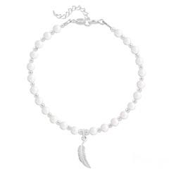 Bracelet Plume en Argent et Perle de Cristal Nacrée Ivory