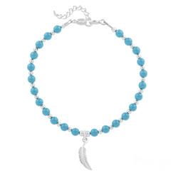 Bracelet Plume en Argent et Perle de Cristal Nacrée Turquoise
