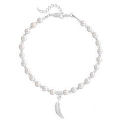 Bracelet Plume en Argent et Perle de Cristal Nacrée White Pearl
