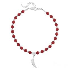 Bracelet Plume en Argent et Perle de Cristal Nacrée Red Coral