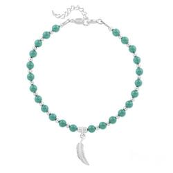 Bracelet Plume en Argent et Perle de Cristal Nacrée Jade