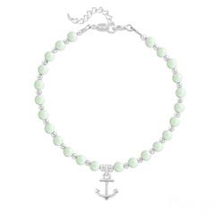 Bracelet Ancre Marine en Argent et Perle de Cristal Nacrée Pastel Green