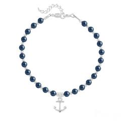 Bracelet Ancre Marine en Argent et Perle de Cristal Nacrée Tahitian Look