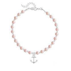 Bracelet Ancre Marine en Argent et Perle de Cristal Nacrée Rose Peach