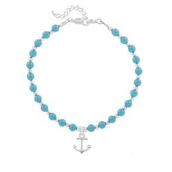 Bracelet Ancre Marine en Argent et Perle de Cristal Nacrée Turquoise