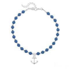 Bracelet Ancre Marine en Argent et Perle de Cristal Nacrée Lapis