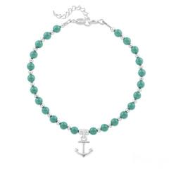 Bracelet Ancre Marine en Argent et Perle de Cristal Nacrée Jade