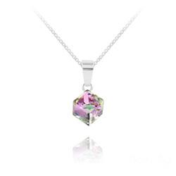 Collier Cube 6MM en Argent et Cristal Vitrail Light