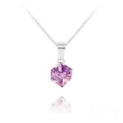 Collier Cube 6MM en Argent et Cristal Violet